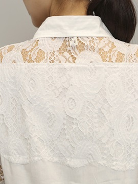 Stylish Plain Lace Decorated Long Sleeve Shirt