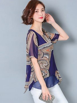 Ethic Print Double-Layer Loose Blouse