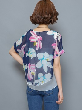 Stylish Print Double-Layer Loose Blouse