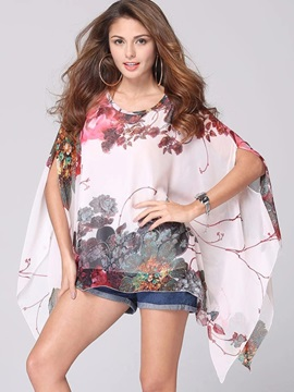 Stylish Chinese Painting Print Standard Loose Blouse