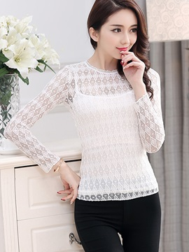 Stylish Solid Color Slim Lace Blouse