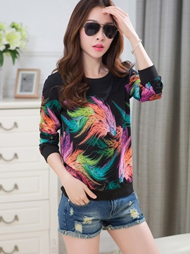 Stylish Print Round Neck Blouse