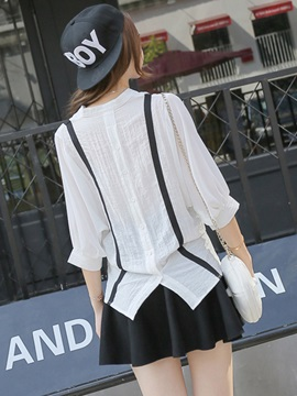 Stylish Stripe Decorated Batwing Sleeve Blouse