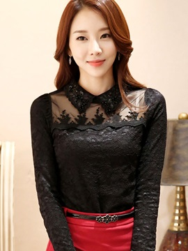 Stylish Solid Color See Through Shoulder Lace Blouse