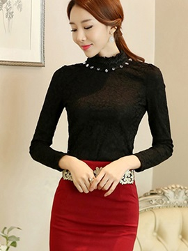 Ladylike Stand Collar Long Sleeve Lace Blouse