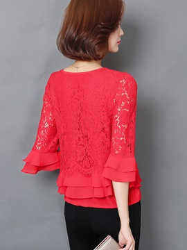 Stylish Multi Color Sleeve and Hem Ruffled Blouse
