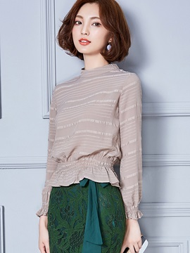 Stylish Multi Color Stand Collar Blouse