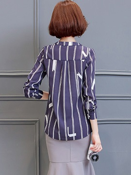 Stylish Print V-neck Long Sleeve Shirt