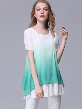 Stylish Gradient A-Line Loose Blouse