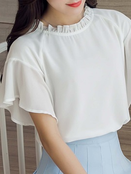 Sweet Solid Color Ruffled Sleeve Loose Blouse