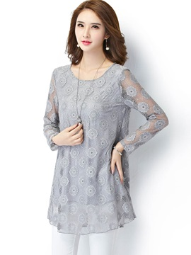 Loose Lace Plus Size Blouse