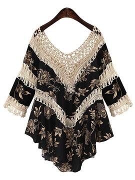 Sweet Print Mid-Length Blouse