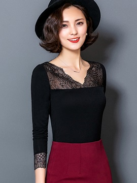 Stylish Plain Lace Patchwork Slim Blouse