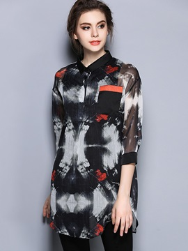 Stylish Print Pocket Decorated Loose Shirt