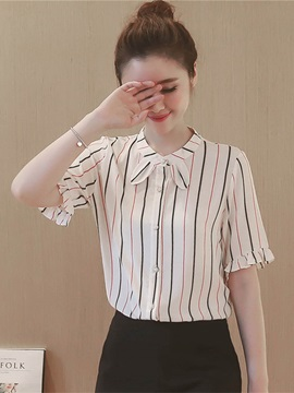 Sweet Stripe Bowknot Neck Loose Blouse