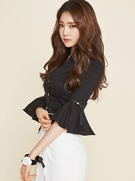 Chic Solid Color Pleated Sleeve Slim Blouse