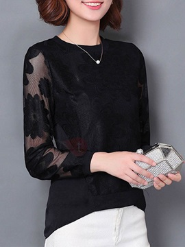 Simple See Through Sleeve Slim Blouse