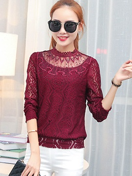 Ladylike Multi Color See Through Neck Lace Blouse