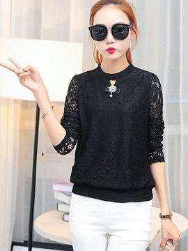 Sweet Multi Color Stand Collar Loose Lace Blouse
