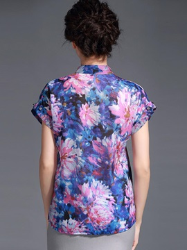 Chinese Style Print Stand Collar Blouse