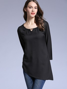 Stylish Oblique Hem Long Sleeve Blouse