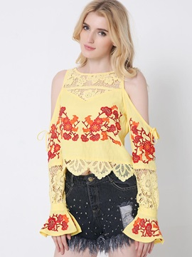 Chic Embroidery Off-Shoulder Short Blouse