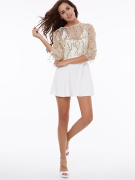 Splendid Sequin Embroidered Short Blouse