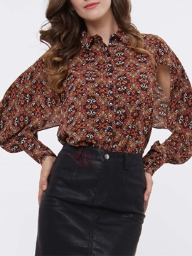 Stylish Allover Print Sleeve Designed Blouse