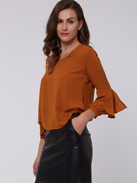 Stylish Sleeve Ruffle Decorated Loose Blouse