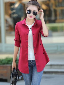 Solid Color Single-Breasted Women's Shirt