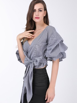 Vogue Pinstriped Lace-Up Women's Blouse
