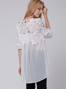 White Cut-Out High-Low Women Blouse