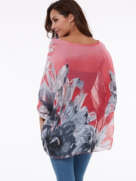 Long Sleeve Bloom-Print Women Blouse