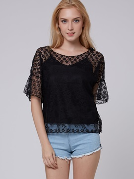 Loose-Fit Crochet Printed Women Lace T-Shirt