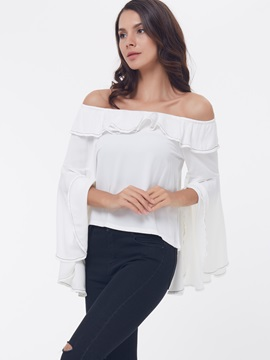 Chic Slash Neck Flare Sleeve Loose Blouse