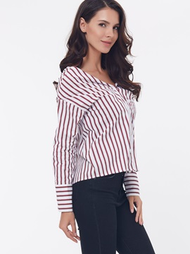 Stylish Back Designed Stripe Blouse