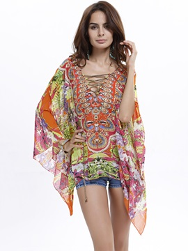 Ethnic Printed Cloak Style Loose Blouse
