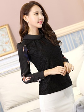 Stylish Patchwork Stand Collar Blouse