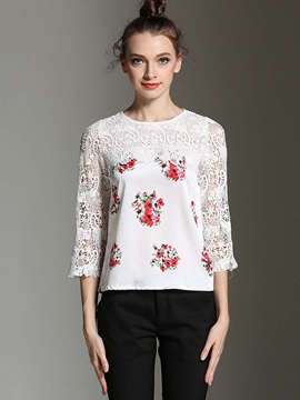 Stylish Patchwork Print Blouse