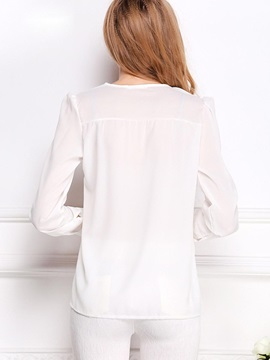 Stylish V-Neck Long Sleeve Blouse