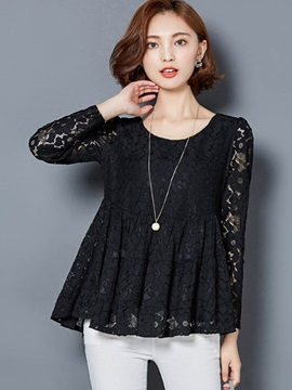 Stylish Multi Color Hemline Lace Blouse