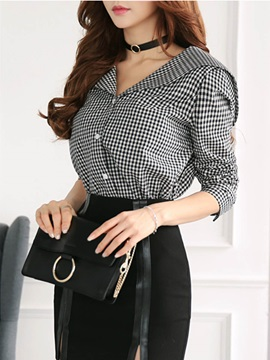 Chic V-neck Check Pattern Slim Blouse