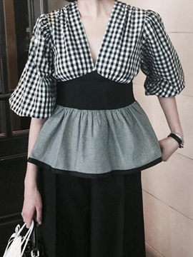 Cute Patchwork Puff Sleeve Slim Blouse