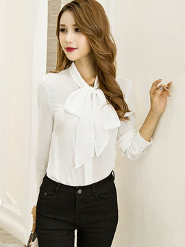 Plain Solid With Butterfly Collar Shirt