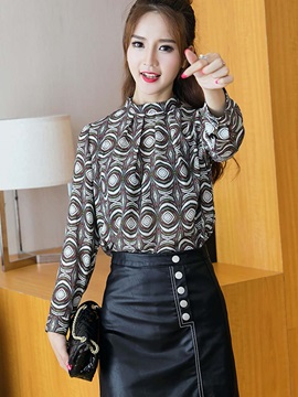 Stylish Print Stand Collar Loose Blouse