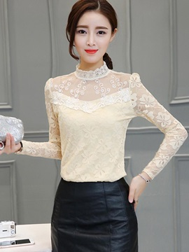 Sweet Stand Collar Lace Blouse