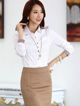 Simple Cuff Decorated Slim Shirt