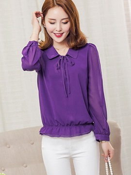 Stylish Lace-Up Chiffon Blouse