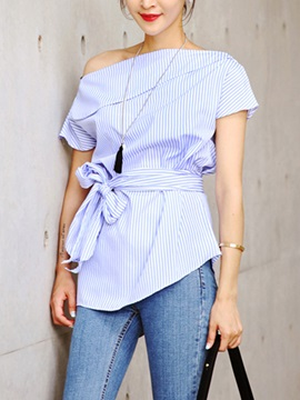 Stylish Lace-Up Off Shoulder Blouse