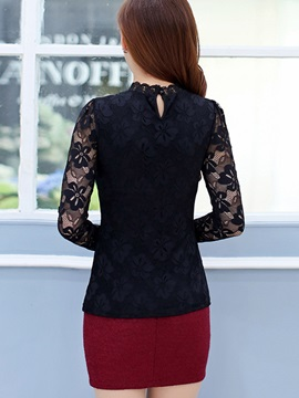 Stylish Lace Sleeve Slim Blouse